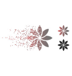 Disintegrating pixel halftone abstract flower icon vector