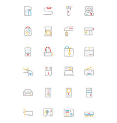 Electronics and Devices Colored Outline Icons 4 vector image