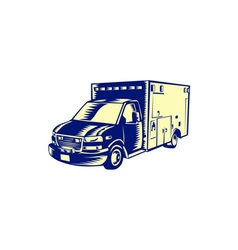 EMS Ambulance Emergency Vehicle Woodcut vector