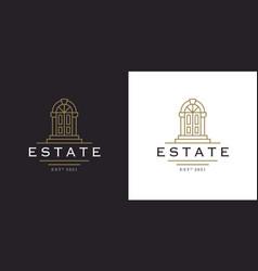 entrance door logo line icon vector image