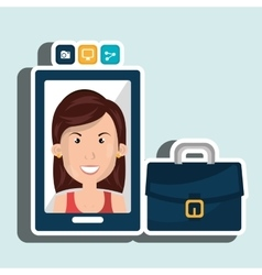 Executive woman and cellphone isolated icon design vector