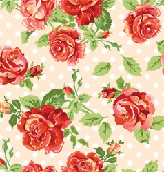 Fancy roses dotty cream background vector