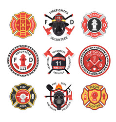 Firefighter label set vector