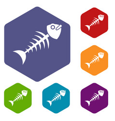 fish bone icons set hexagon vector image