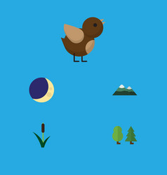 Flat icon ecology set of bird cattail forest and vector
