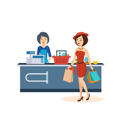 Girl makes a large purchase at the store vector