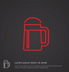 Glass of beer outline symbol red on dark vector