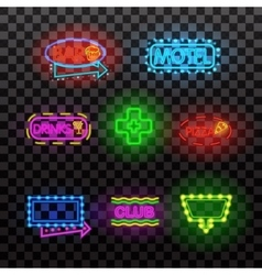 Glowing neon light signs illuminated isolated on vector image