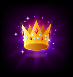 gold crown with rubies and pearls icon vector image
