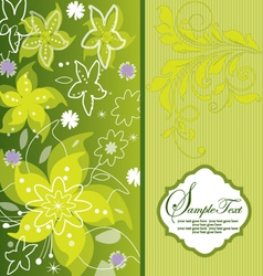 Green flower background greeting card vector image