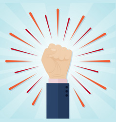 hand showing raised fist on a radial comic vector image vector image
