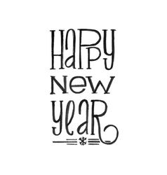 Happy new year retro poster black and vector