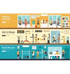 Healthy Lifestyle Get In Shape Build Muscle flat vector