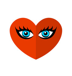 heart with passionate eyes logo expressive look vector image