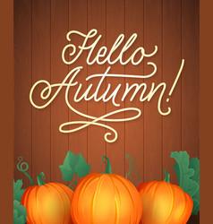 Hello autumn lettering hand written typography vector