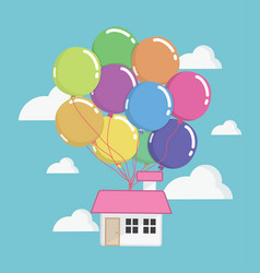 House with lots of colorful balloons flying vector