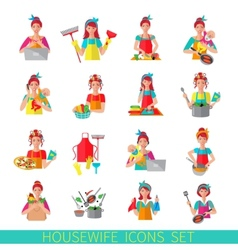 Housewife Icon Set vector