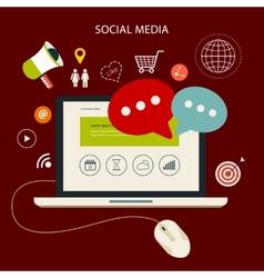 Icons set cloud computing analytic social media vector