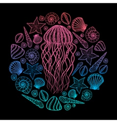 Jellyfish and shells in line art style hand drawn vector