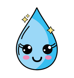 Kawaii cute happy water drop vector