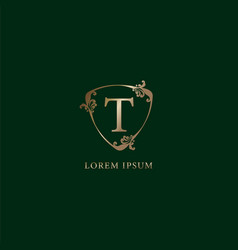 Letter t alphabetic logo design template luxury vector