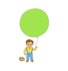 little boy standing with big balloon and toy car vector image