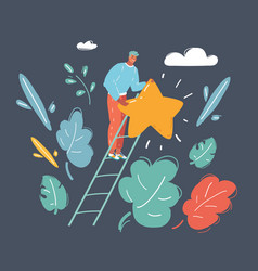 man on a ladder to pick star above cloud vector image