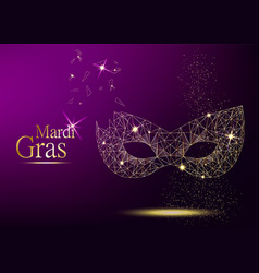 Mardi gras golden polygonal carnival mask vector