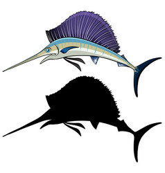 Marlin characters and its silhouette on white vector