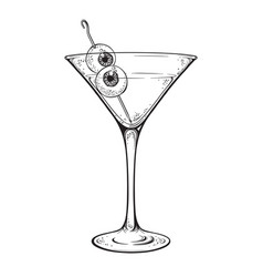 Martini with eyeballs cocktail halloween design vector