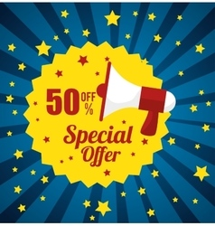Megaphone stamp special offer discount star blue vector