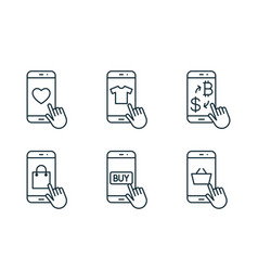 Mobile shopping line icons set on white background vector