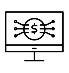 money symbol on computer screen line icon vector image