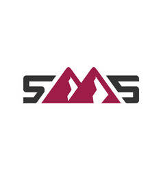 mountain logo letter sms vector image