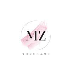 Mz m z watercolor letter logo design with vector