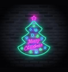 neon sign christmas tree and merry christmas vector image