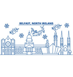 north ireland belfast winter city skyline merry vector image