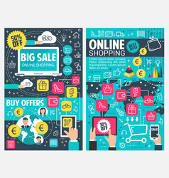 online shopping banner web business technology vector image