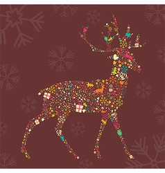 Ornamental Christmas reindeer with snowflakes vector image