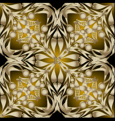 ornate gold 3d paisley seamless pattern abstract vector image