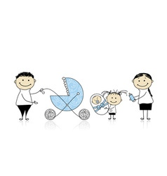 Parents walking with children baby in buggy vector image
