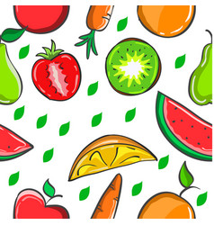 Pattern of fruit colorful style vector
