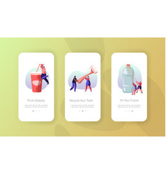people characters use plastic packaging mobile app vector image