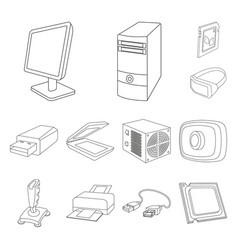 Personal computer outline icons in set collection vector