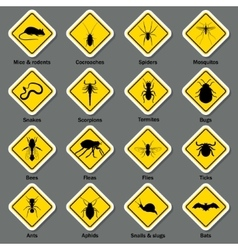 Pest and insect control icons set vector image