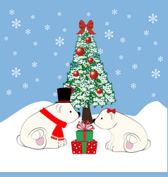 Polar bears and christmas tree vector