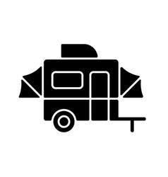 pop up camper black glyph icon vector image