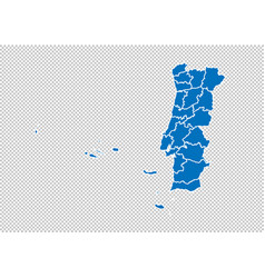 portugal map - high detailed blue map with vector image
