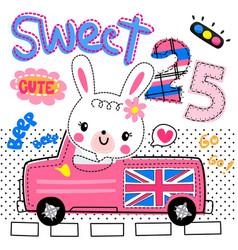 Rabbit girl driving pink pickup truck on road vector
