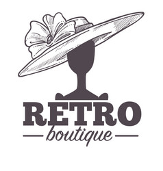 retro boutique logo with vintage hat on mannequin vector image